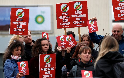 BP faces climate protests at investor meeting, Shell gets boost