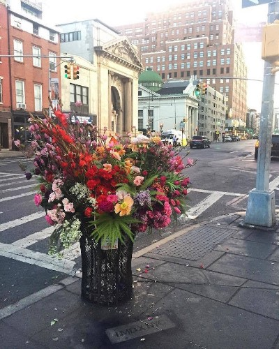 Floral Designer is Turning NYC Trash Cans into Giant Vases Overflowing with Flowers