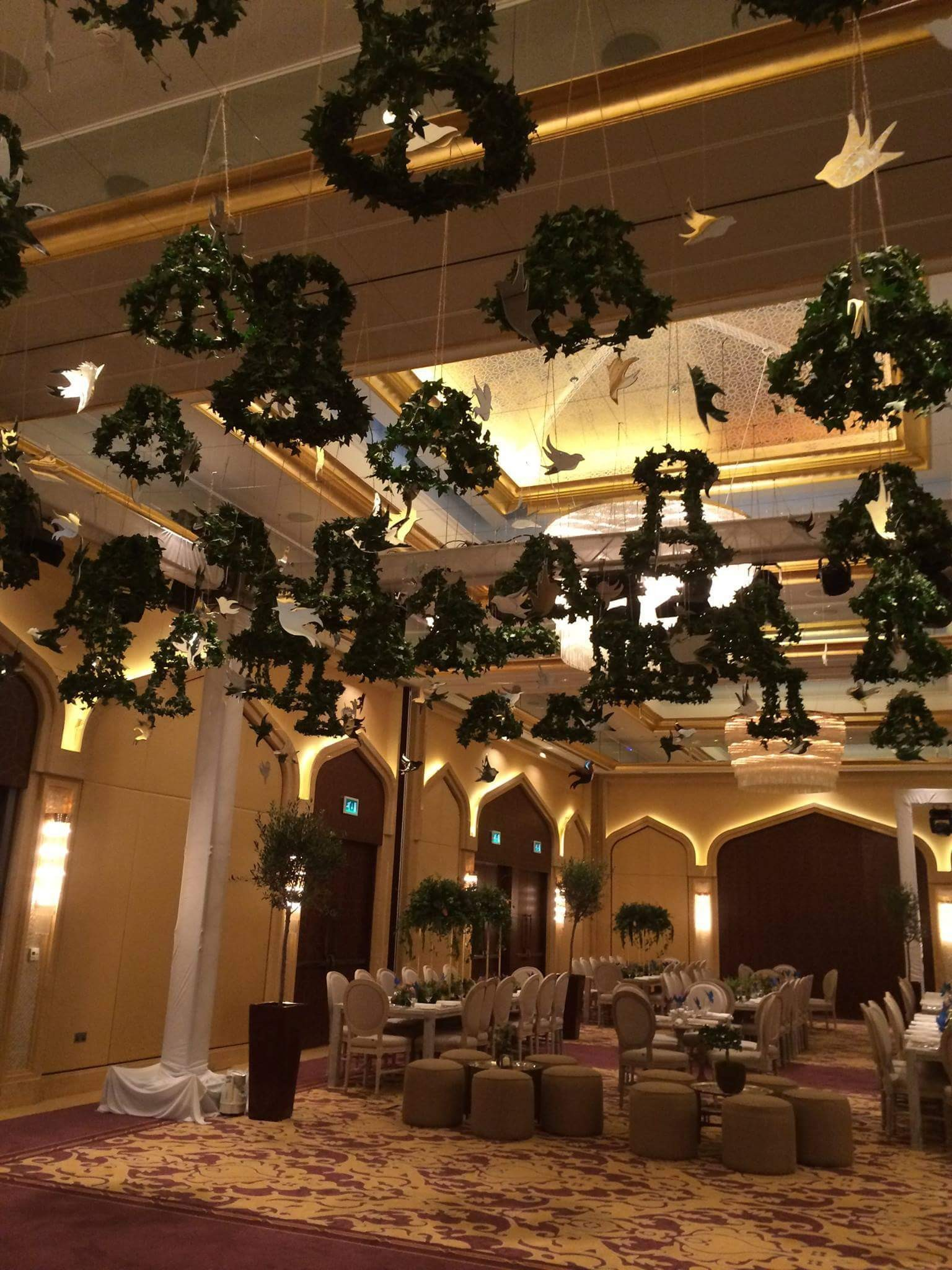 Hanging Birds for wedding event which where made by Cute