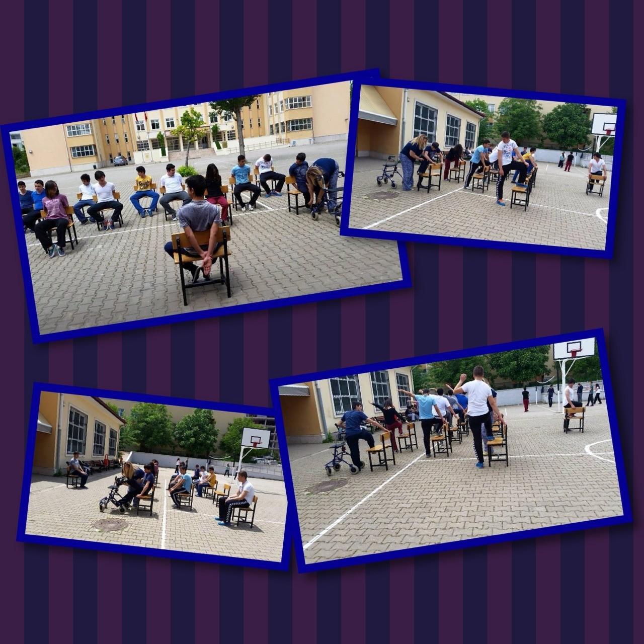 FARKINDALIK ÇALIŞMASI Karakusunlar İMKB mesleki ve teknik Anadolu lisesi beden öğretmeni sandalye yogası ile serebral Palsili bir gencin beden eğitimi dersine katılımını sağlayıp,arkadaşları ile kaynaşmasını sağlamıştır...