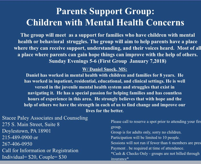 New support group in Doylestown, PA. Every Sunday.
