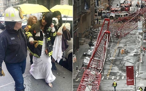 Bride whose wedding ruined by New York crane collapse is married by fire department chaplain