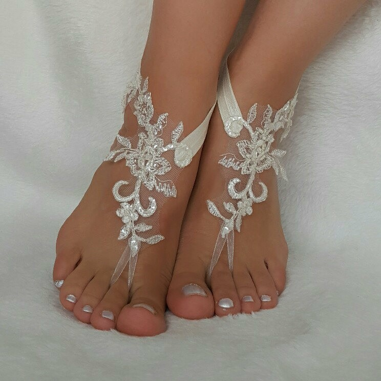 cream lace beach wedding barefoot sandals handmade anklets bangles bridesmaid gifts embroidered shoes accessories free ship country wedding foot accessory authentic beach fashion rustic bellydance foot wear beach pool spectacular unique gift number one💖