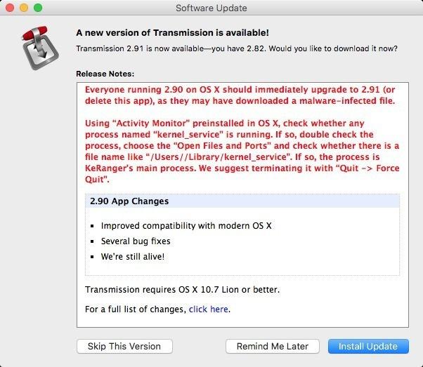 Transmission Malware Transmitted Through Server Hack, Downloaded 6,500 Times