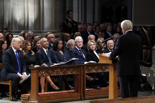 Presidents club assembles for Bush funeral, Trump an outlier
