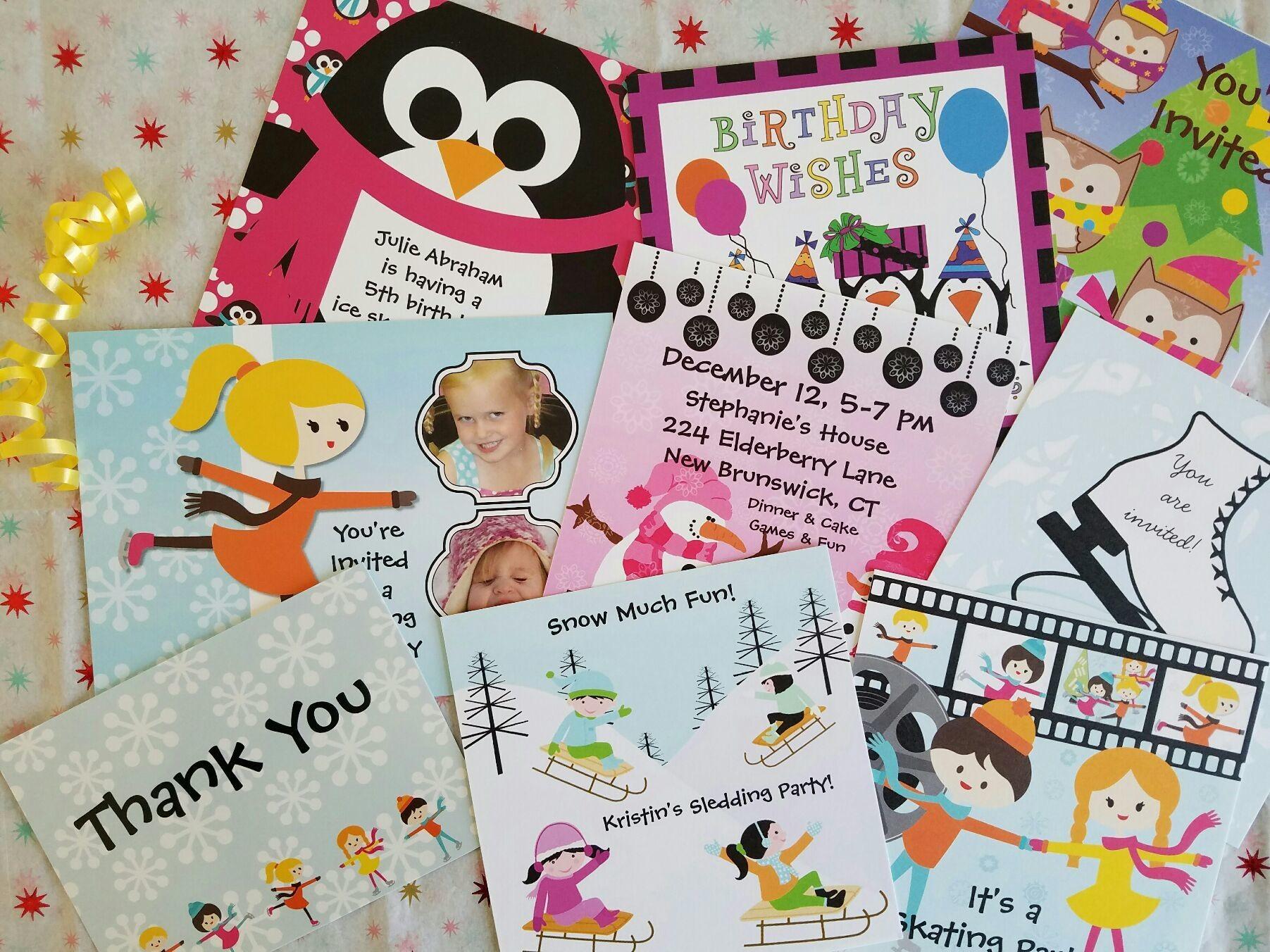 Winter themed kuds birthday invitations for sledding and skating birthday party at www.zazzle.com/kids_birthdays