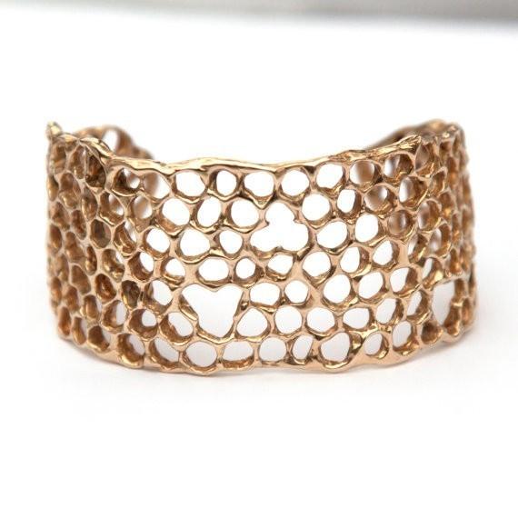 Honeycomb Cuff Bracelet - Golden Brass
