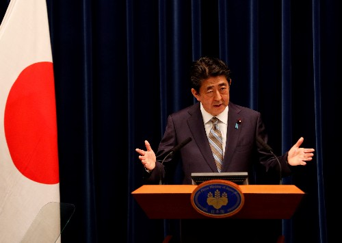 Japan PM Abe discussing Japan visit by Iranian President Rouhani