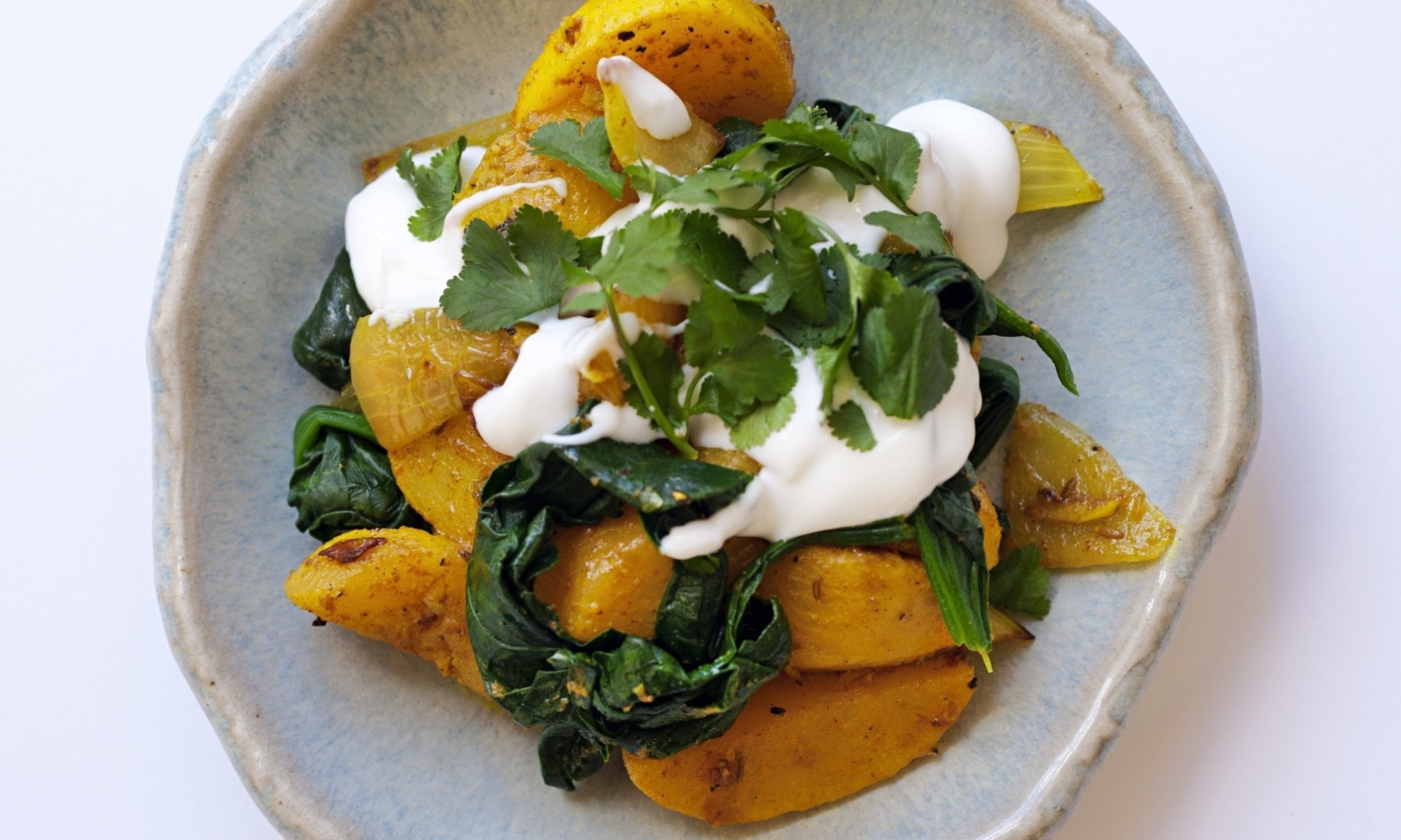 Nigel Slater's spiced turnips with spinach