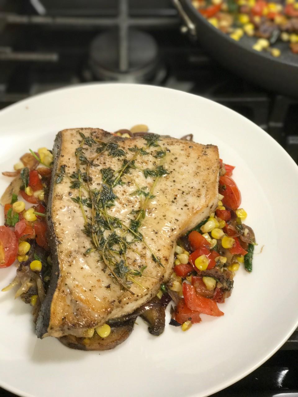 From my Kitchen. Sauté Swordfish Steak with Fresh Corn, Mushroom and Tomato Medley. Urbanskitchen.com