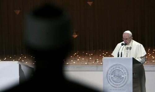 Pope decries 'armed power', Yemen war on UAE trip