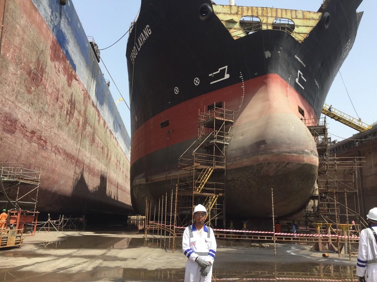 Standing infront Layang FPSO at drydock Dubai