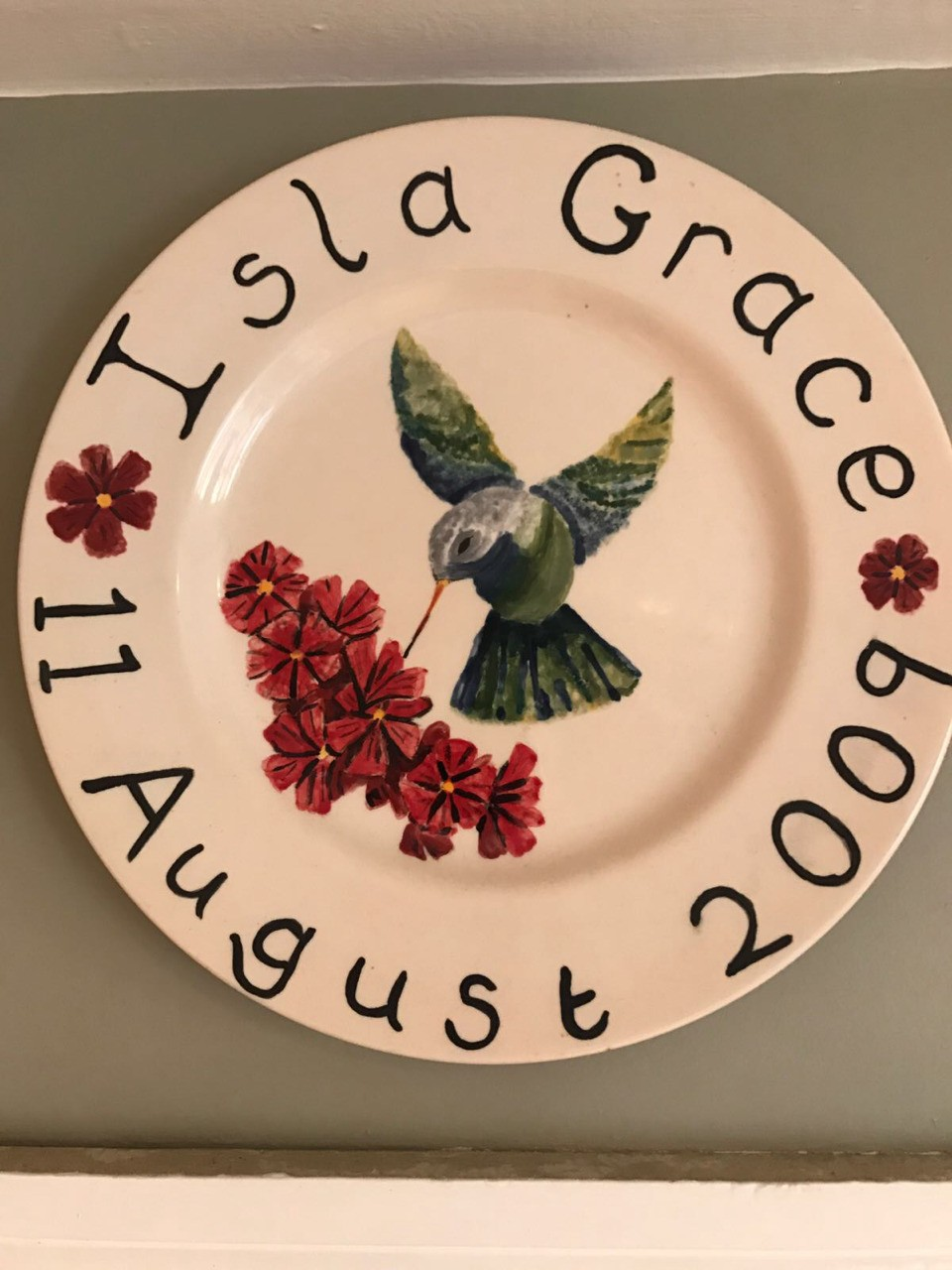 Plate for my niece. After firing and glazing.