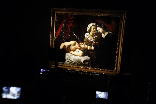 Painting attributed to Caravaggio on display before auction