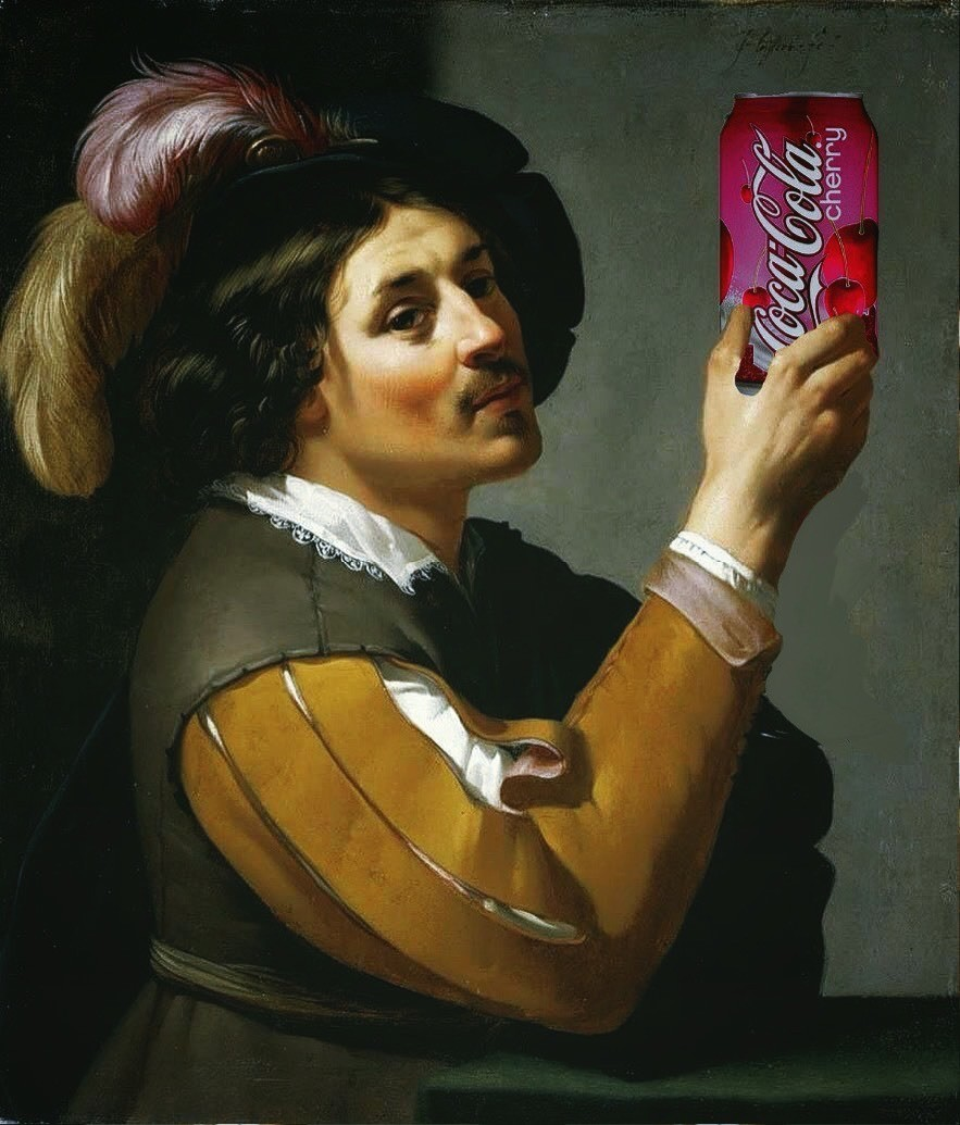 'Eine Cherry?' by Rony (Young Man Drinking a Glass of Wine, 1625, by Jan van Bijlert) #coke