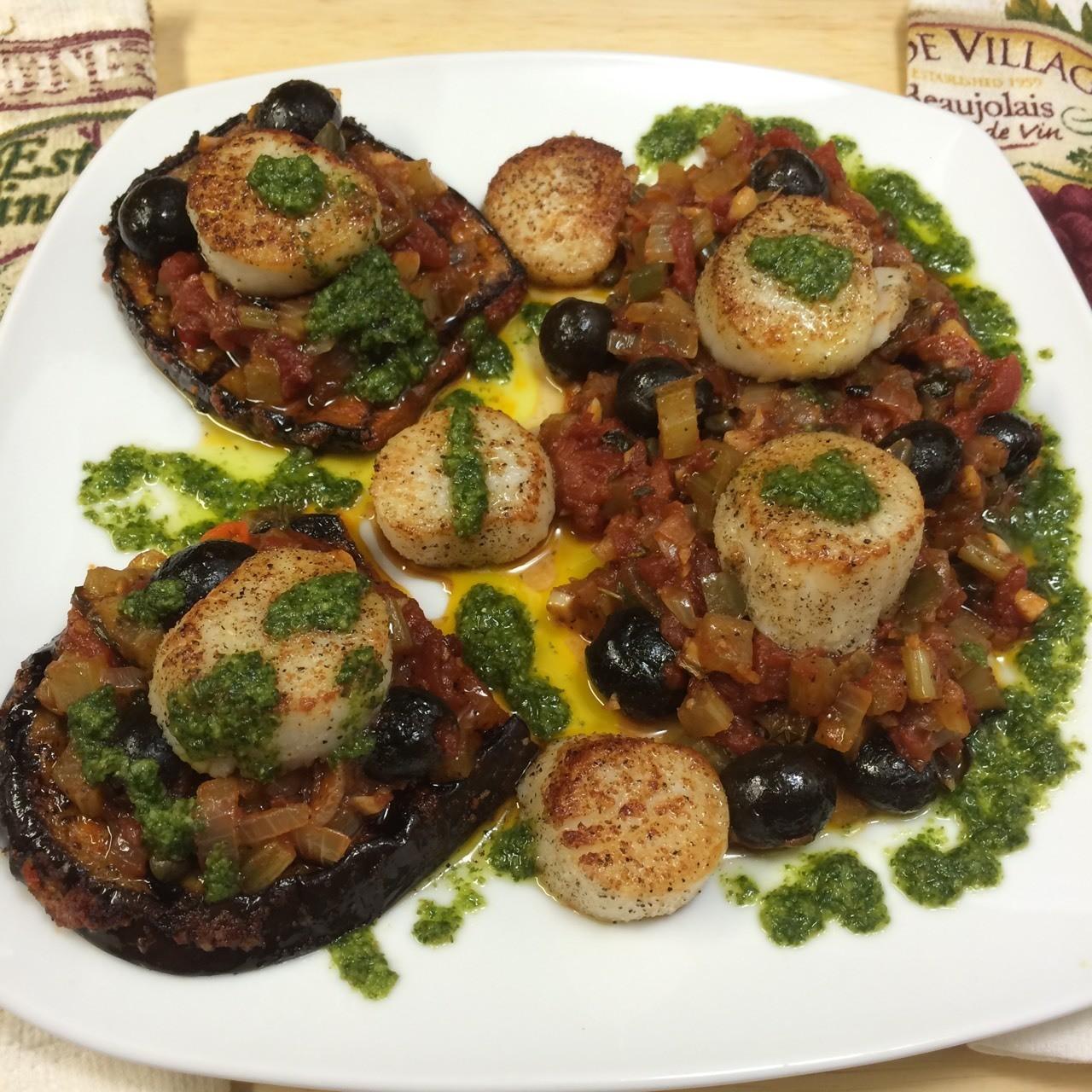 Scallops Caponata with Smoky Eggplants & Basil Pesto 👍!