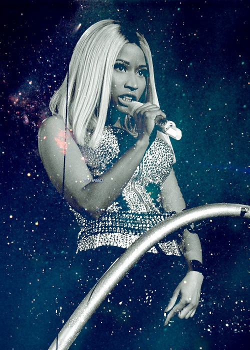 Nicki floating over the crowd during the opening act of the 2013 BET Awards.
