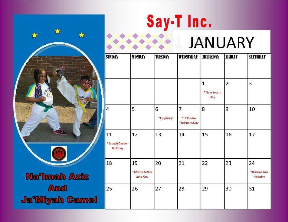 2015 commemorative Save Another Youth Taekwondo Calendar.