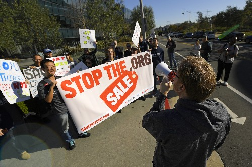 Protesters fear rising costs if firm buys dot-org universe