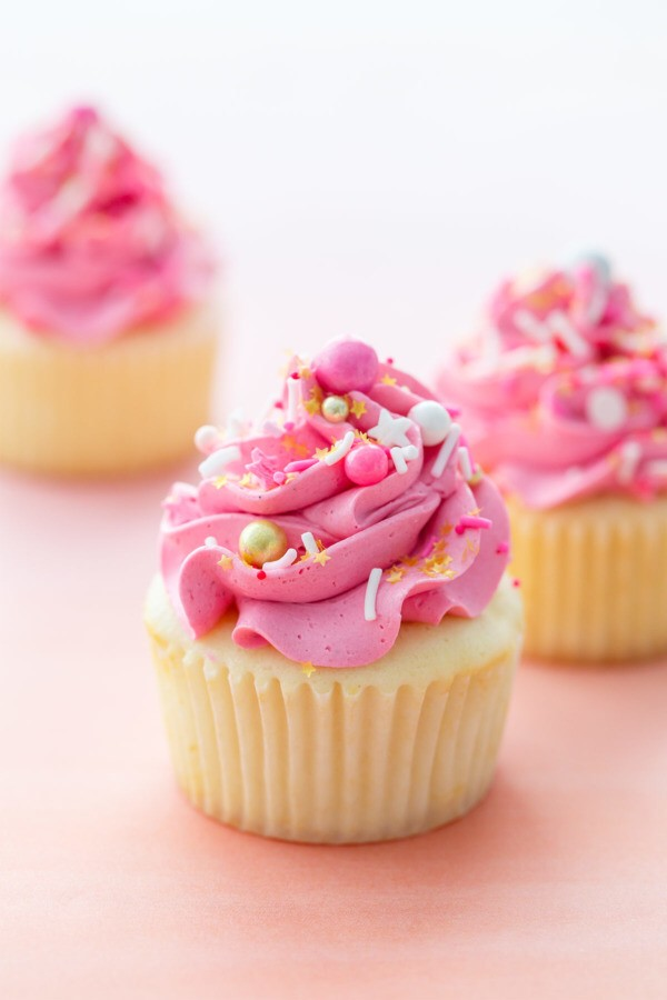 Sprinkle-Filled Marshmallow Buttercream Cupcake