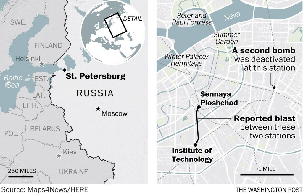 11 killed in St. Petersburg subway blast; a second bomb is disarmed
