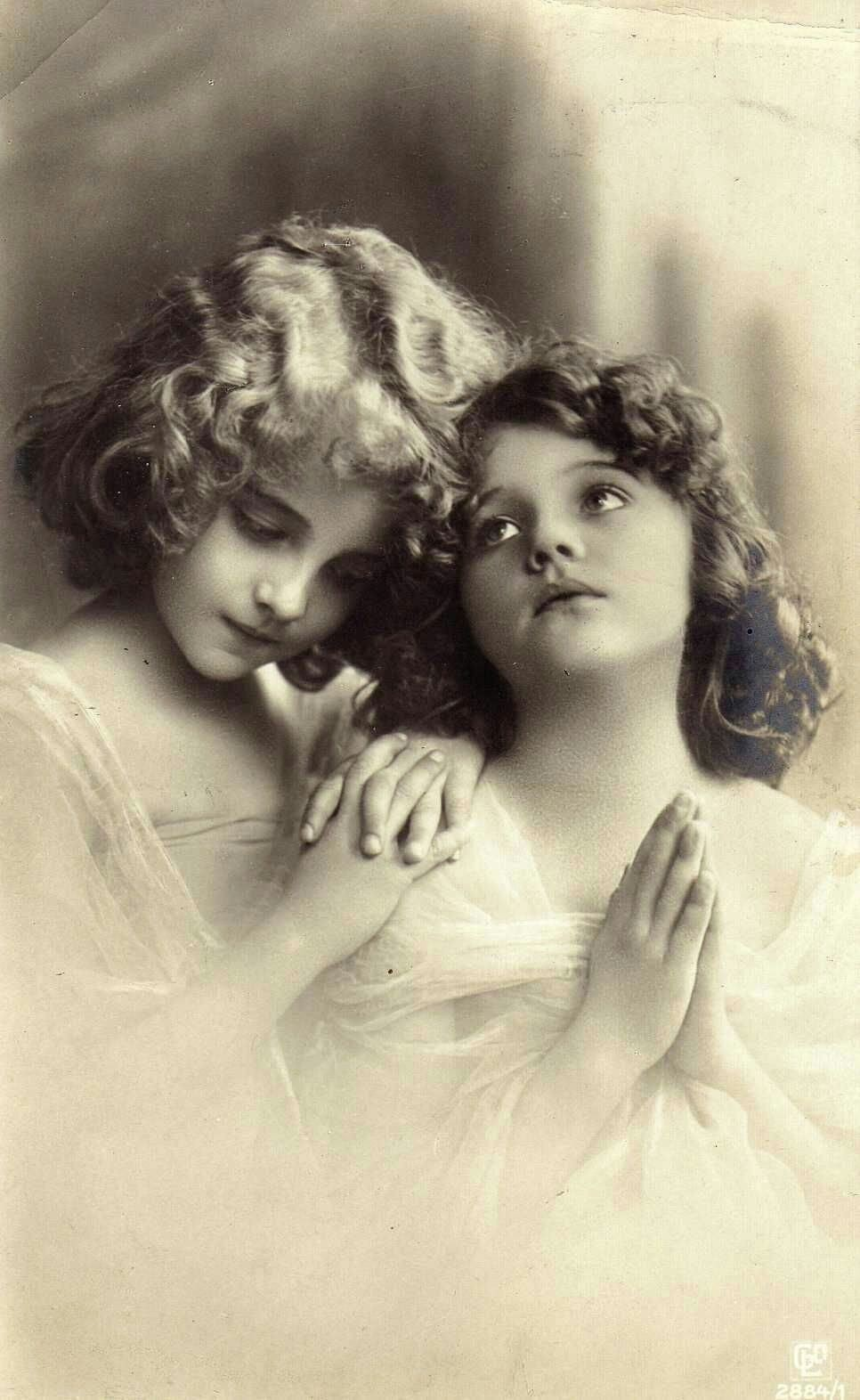 """Grete and Hanni Reinwald 1908"" The two adorable sisters that were famous models on photo postcards from 1906 to 1914. The family was from Germany. Grete was born on May 26, 1902; her sister Hanni on August 24, 1903. Both sisters later became famous Silent Movie stars in Germany. - Abbie Stewart - Photographer unknown"
