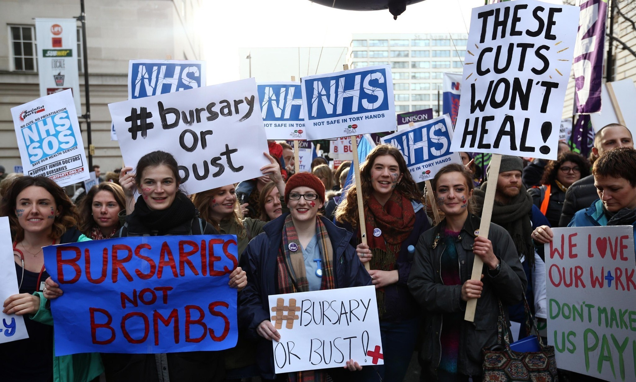 Student nurses and midwives protest over NHS bursary plans