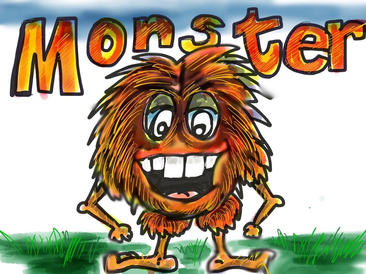 This is a monster drawing that we created using the paper 53 app.
