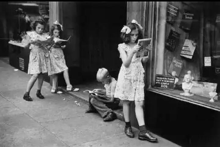 Comic book readers in New York City, 1947.