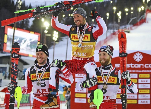 Hirscher skis to Austria's rescue with slalom gold at worlds