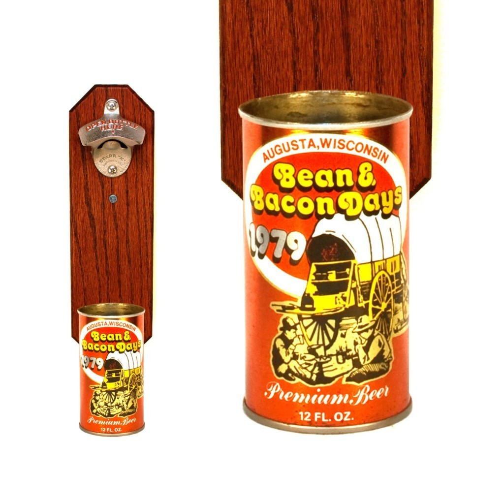 Bean & Bacon Days Wall Mounted Bottle Opener with Vintage 1979 Beer Can Cap Catcher