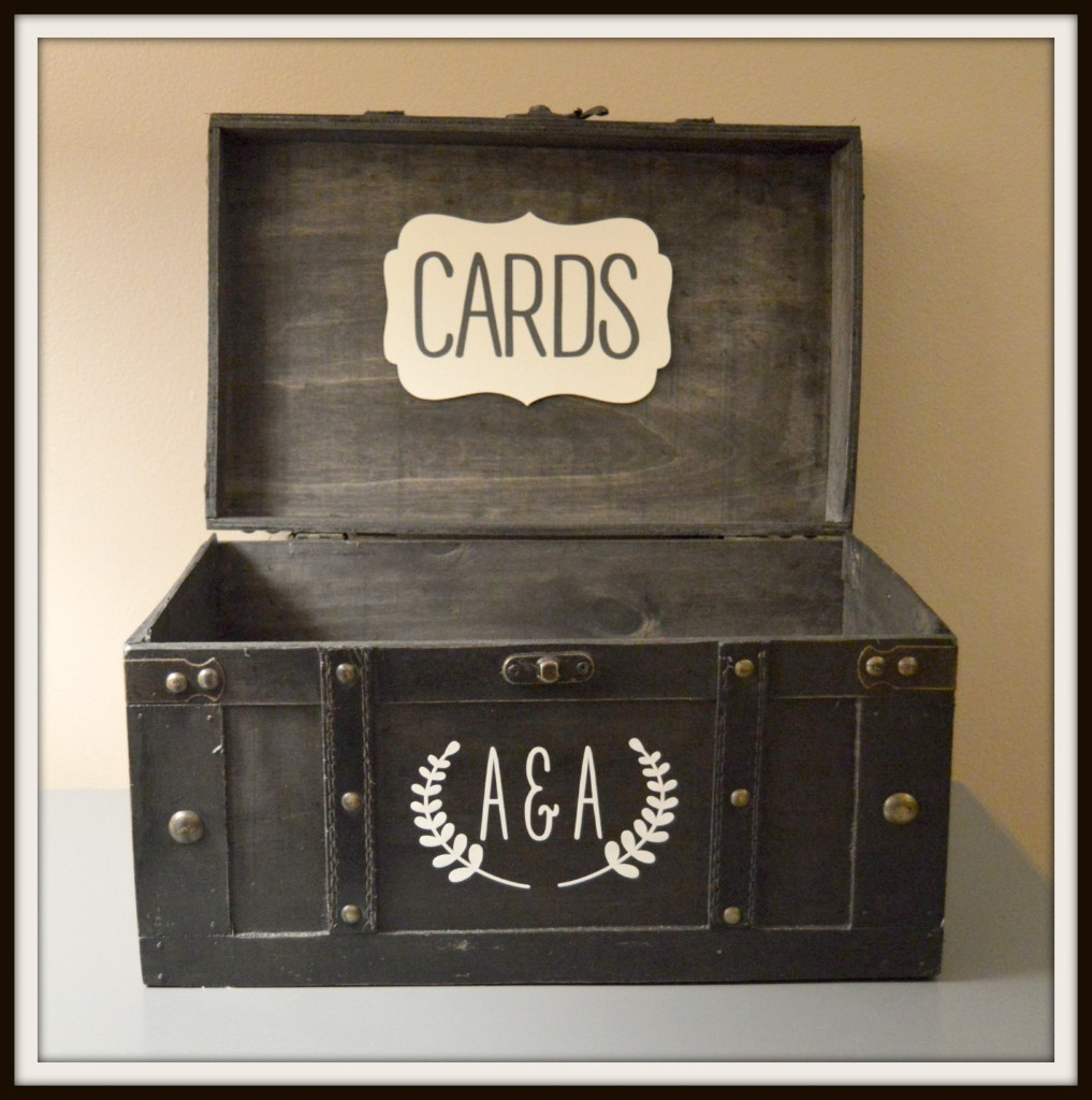 Wedding Card Box Black Vintage | Wedding Cardbox Holder Trunk - Large | Wedding Gift Card Holder with Monogram Initials | Large