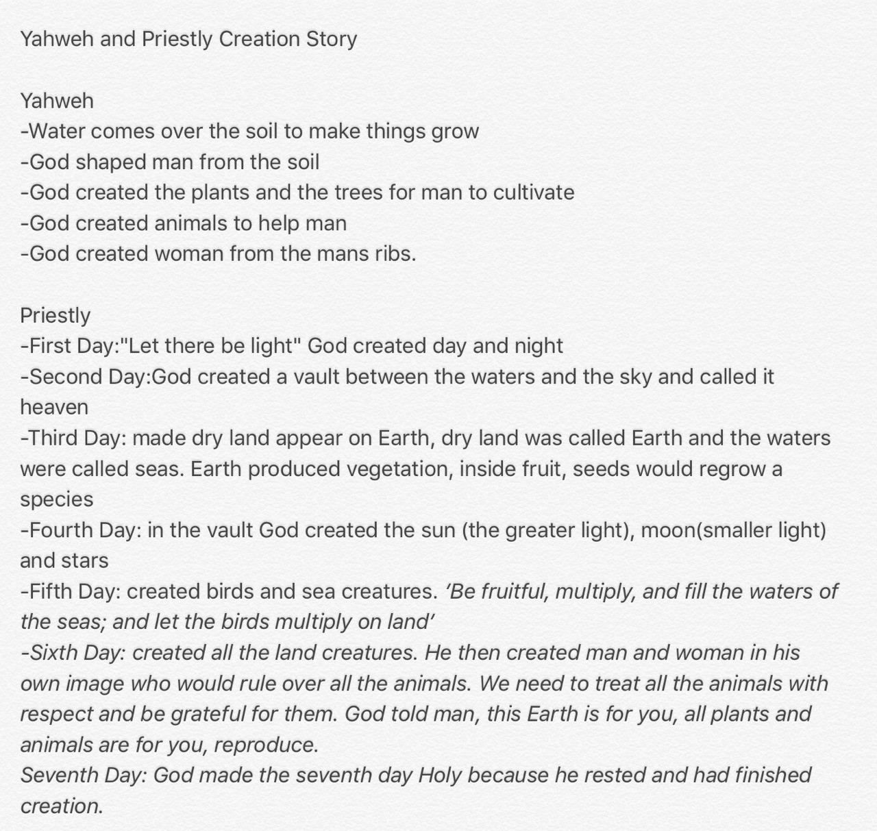 The Yahweh and Priestly creation stories