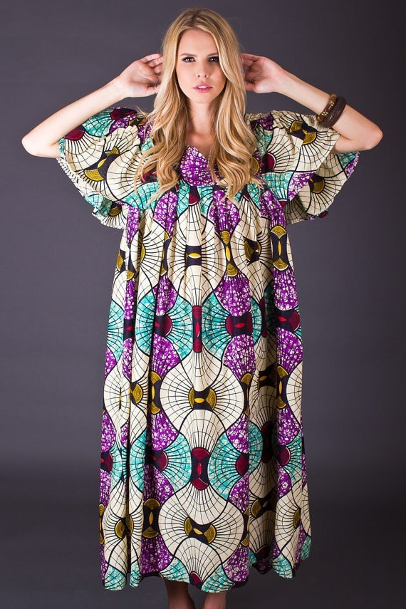 70s Vintage Kaleidoscope Print Maxi Dress