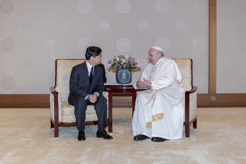 The Latest: Pope says parents cried over atom bombings