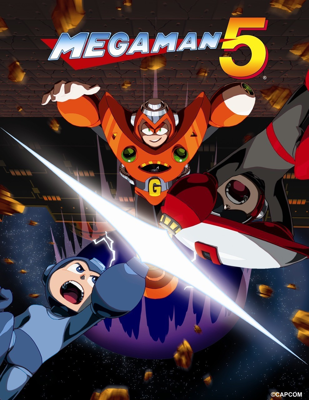 Mega Man V - Official art from the Mega Man Legacy Collection game.