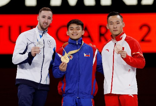 Gymnastics: Yulo claims Philippines' first-ever gold at worlds