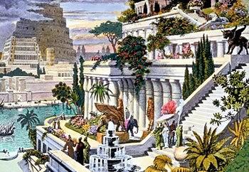 """حدائق بابل المعلقه : وُصفت حدائق بابل في عدد من النصوص القديمة، وكان أولها نص للراهب والمؤرخ والفلكي برعوثا الذي كان يعبد الإله مردوخ والذي عاش في أواخر القرن الرابع قبل الميلاد. ولم تعرف مؤلفات برعوثا إلا عن طريق الاقتباسات التي اقتبسها بعض الكتاب منها (مثل يوسف بن ماتيتياهو). وهناك حمسة مؤرخين (إضافة إلى برعوثا) كتبوا في وصف الحدائق المعلقة ومازالت كتبهم موجودة إلى اليوم، وقد وصف هؤلاء المؤرخون حجم الحدائق المعلقة، وكيفية وسبب بنائها، وماذا كان النظام المتبع في ري الحدائق. وذكرت حقائق عن ألحدائق المعلقة في الكثير من النصوص التاريخية ومنها المجلد الثاني للمؤرخ ديودور الصقلي وهي كألآتي : بلغت مساحة الحدائق حوالي 14400 متراً، وكانت على شكل تل وتتكون من طبقات ترتفع الواحدة فوق الأخرى، وهي تشبه المسارح اليونانية، حيث يصل ارتفاع أعلى منصة إلى خمسين ذراعاً. بلغت سماكة جدران هذه الحدائق التي زُيّنت بكلفة عالية حوالي 22 قدماً، وممراتها كانت بعرض عشر أقدام، وهذه الممرات كانت مغطاة بثلاث طبقات من القصب والقار، وطبقة ثانية من الطوب، والطبقة الثالثة تتألف من الرصاص تمنع تسلل الرطوبة تليها كميات من التراب غرست فيها الأشجار، وزودت الحدائق بما تحتاجه من التراب لتتسع لجذور أكبر الأشجار، إذ زُودت الحديقة بأشجار من كل الأنواع و بكثافة. صممت الحديقة بطريقة تسمح للضوء بالوصول إلى كل المصاطب، احتوت الحدائق على مساكن ملكية، وكانت المياه ترتفع إلى قمة الحدائق بآلات ترفع المياه من النهر، وقد صممت بطريقة لا يراها زوارها. كان موقع الحدائق بالقرب من نهر """"ولم يحدد أي نهر لكن المؤكد أنها كانت في في بابل وبناها نبوخذ نصر"""