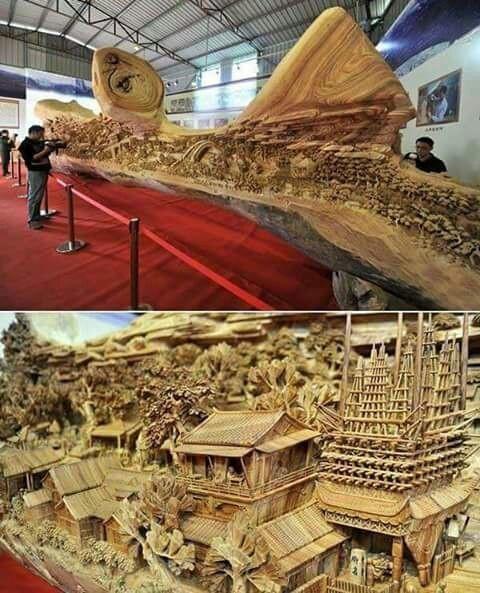 الفنان الصيني Zheng Chunhui's قام بعمل هذه المنحوتة الخشبية المميزة وبطول 12 م