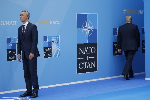 The Latest: Trump questions value of NATO, slams Germany