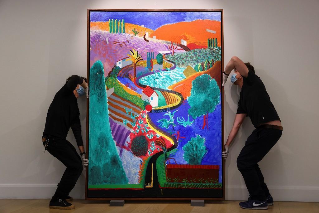 Exhiben obra maestra de Hockney antes de subastarla