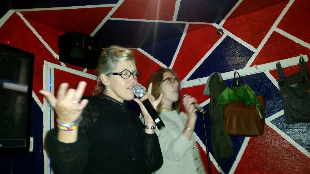 karaoke'ing their hearts out...