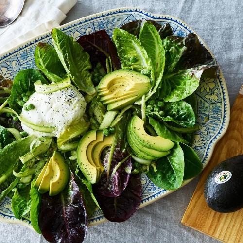 Pea, Asparagus, & Avocado Salad With Burrata  Recipe on Food52