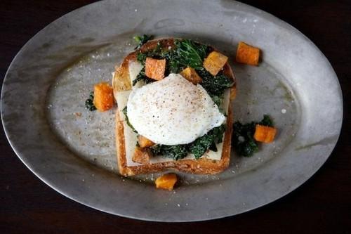 Sautéed Kale, Roasted Sweet Potato and Poached Egg HolidayToast