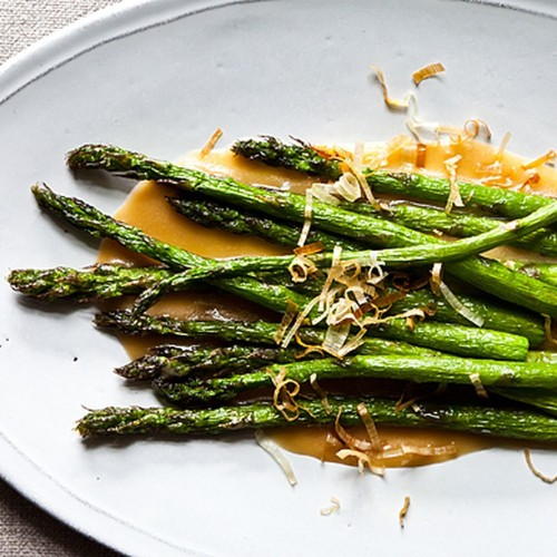 Nobu's Fried Asparagus with Miso Dressing Recipe on Food52