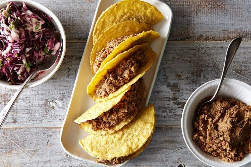 Easy Lentil Walnut Tacos with Cabbage LimeSlaw