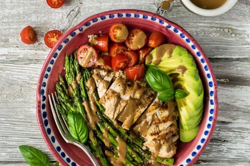 Grilled Chicken and Asparagus Bowls with Creamy BalsamicDressing