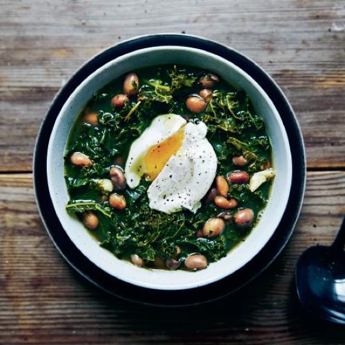 Kale & Borlotti Bean Soup with Poached Eggs Recipe on Food52