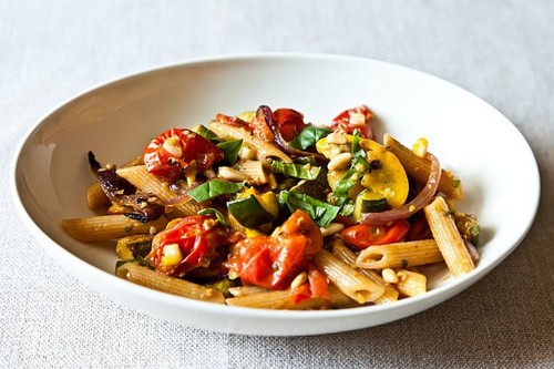 Penne with Sweet Summer Vegetables, Pine Nuts, and Herbs Recipe on Food52