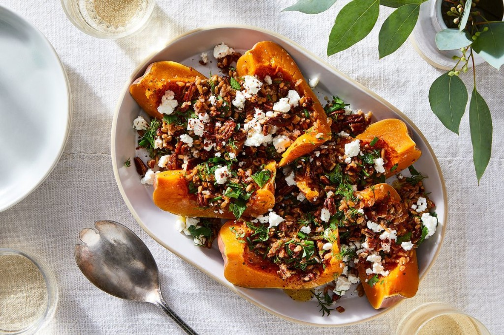 Slow-Cooker Whole Squash With Spelt & Feta